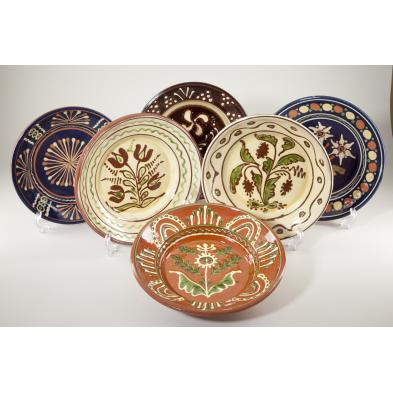 group-of-six-westmoore-pottery-chargers