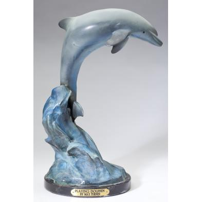 max-turner-playing-dolphin-cold-painted-bronze
