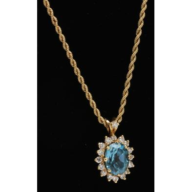14kt-chain-necklace-with-topaz-and-diamond-pendant