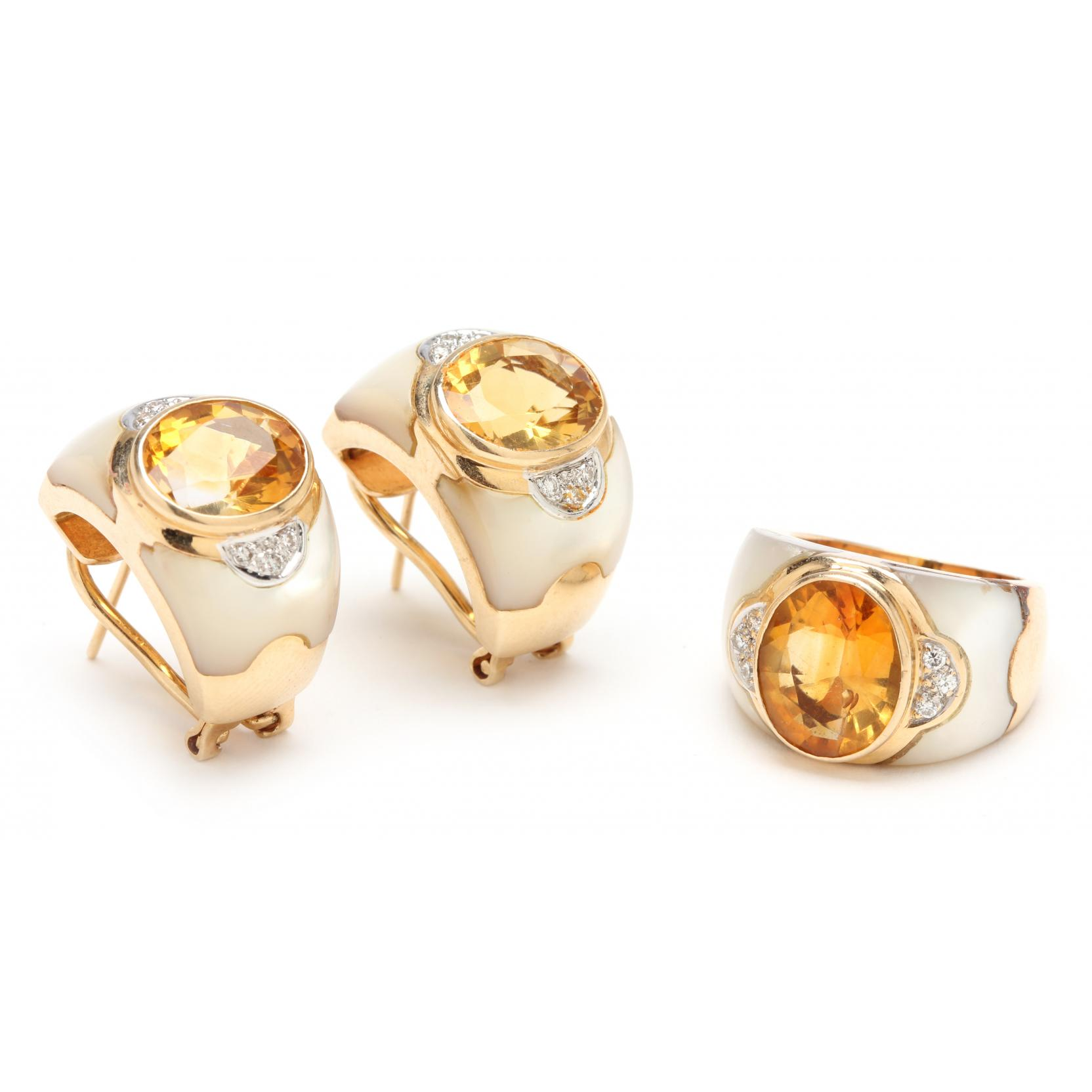citrine-diamond-and-mother-of-pearl-ring-and-ear-clips