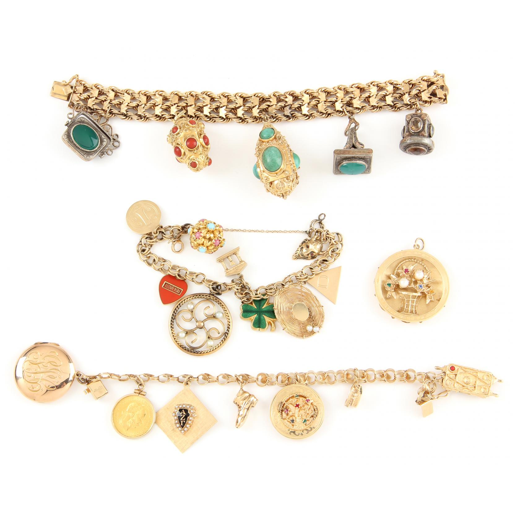 three-gold-charm-bracelets