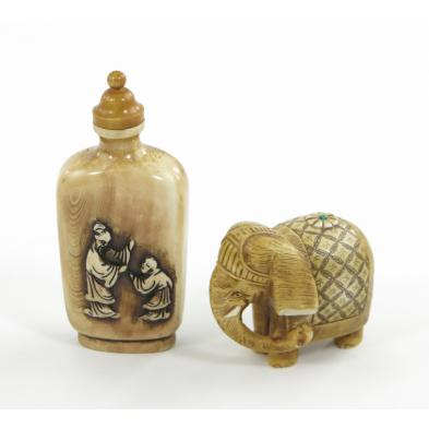 chinese-snuff-bottle-and-elephant-netsuke