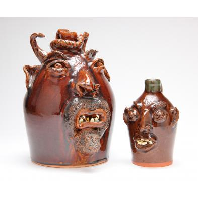 two-nc-folk-pottery-face-jugs-brown-pottery