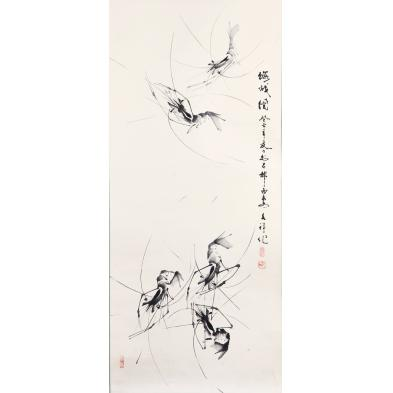 chinese-ink-scroll-painting-of-prawns