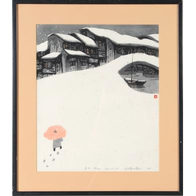 shen-min-yi-china-20th-century-inhabited-snowscape