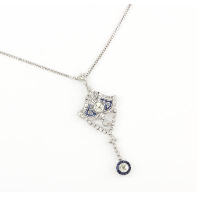 art-deco-platinum-diamond-and-sapphire-lavalier-with-14kt-gold-chain
