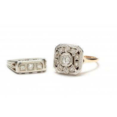 two-vintage-gold-diamond-rings