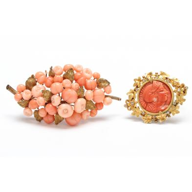two-antique-gold-and-coral-brooches