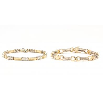 two-14kt-two-color-gold-diamond-bracelets