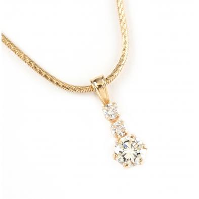 14kt-three-stone-diamond-pendant-necklace