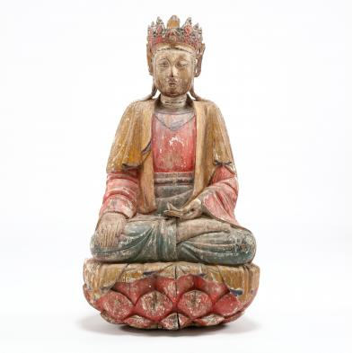 a-large-wooden-sculpture-of-seated-guanyin