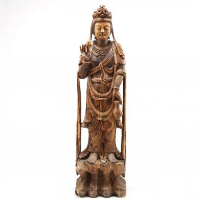 chinese-standing-guanyin-wooden-sculpture