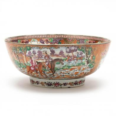 chinese-export-mandarin-rose-punch-bowl-with-hunting-scene