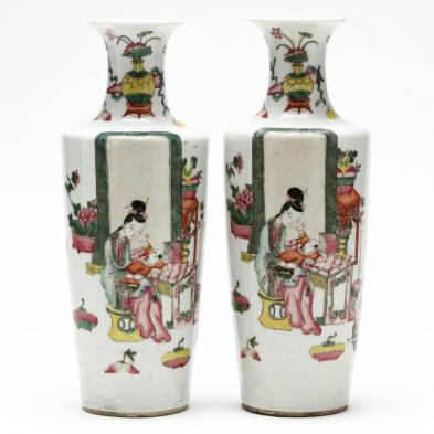 pair-of-chinese-famille-rose-porcelain-mantel-vases