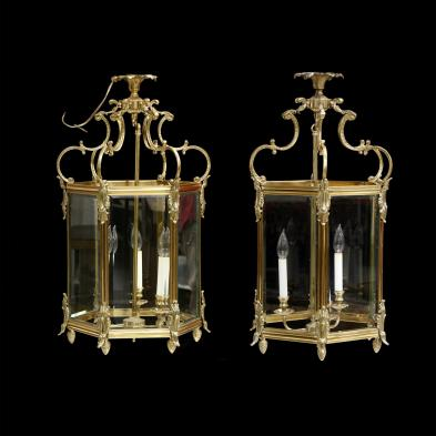 pair-of-louis-xv-style-brass-hanging-lanterns