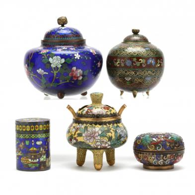 group-of-asian-cloisonne