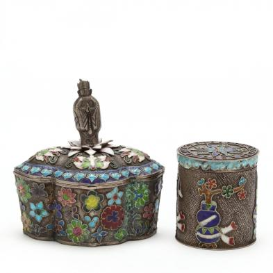 two-antique-chinese-enameled-silver-boxes