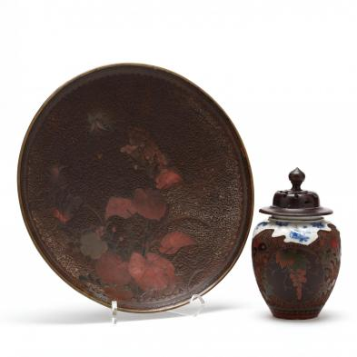 two-japanese-tree-bark-cloisonne-items