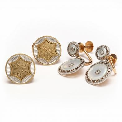 a-pair-of-platinum-and-gold-earrings-and-a-pair-of-two-tone-gold-earrings