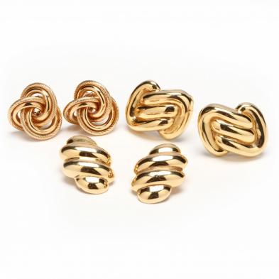 three-pairs-14kt-yellow-gold-earrings