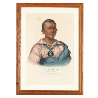 mckenney-hall-lithograph-of-an-indian-wearing-a-peace-medal