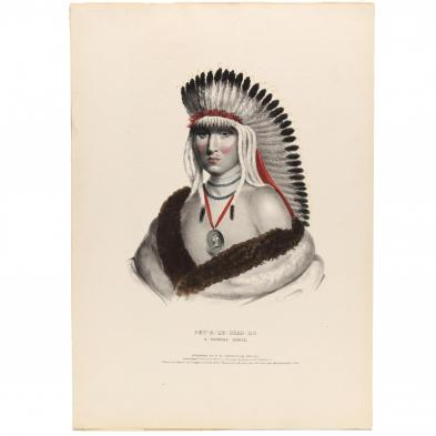 l-t-bowen-lithograph-of-a-pawnee-wearing-peace-medal