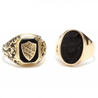 two-gold-and-onyx-rings