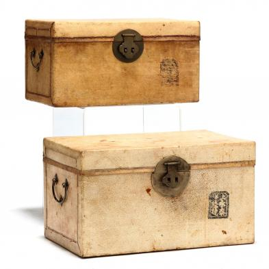 two-vintage-chinese-hide-covered-boxes