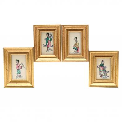 four-chinese-pith-paper-miniature-paintings