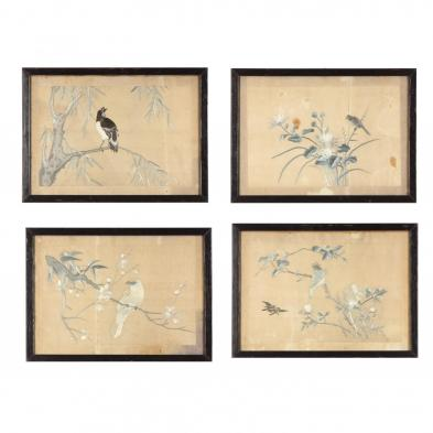 set-of-four-framed-asian-embroidered-bird-and-flower-panels