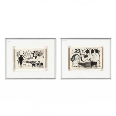bob-rankin-nc-pair-of-neolithic-style-works-on-paper