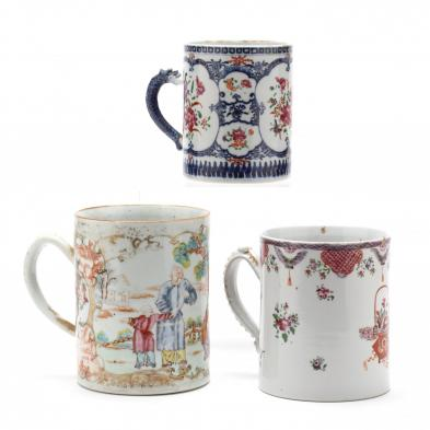 three-large-antique-chinese-export-mugs