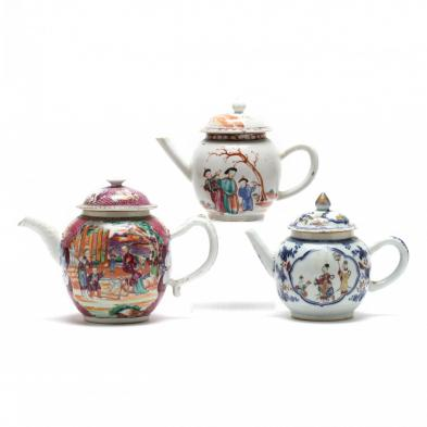 three-antique-chinese-export-porcelain-teapots