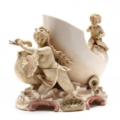 unusual-rococo-revival-sea-nymph-and-swan-centerpiece