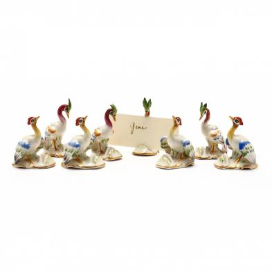 eight-german-porcelain-bird-place-card-holders