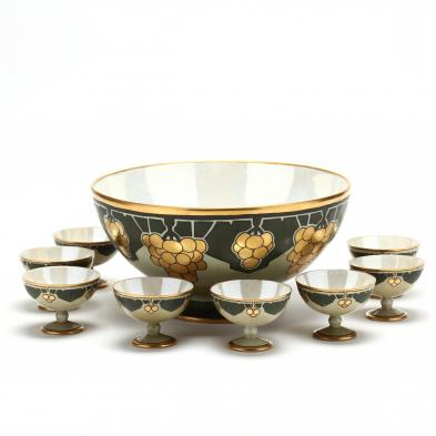 limoges-arts-and-crafts-painted-punch-bowl-set