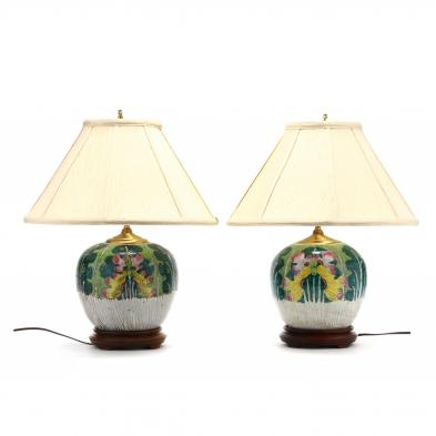a-pair-of-chinese-export-cabbage-leaf-porcelain-table-lamps
