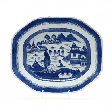 a-chinese-blue-and-white-octagonal-canton-platter