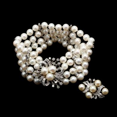 multi-strand-14kt-white-gold-pearl-and-diamond-bracelet-and-brooch