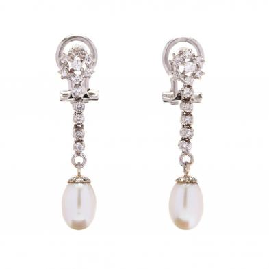 18kt-white-gold-diamond-and-pearl-drop-earrings