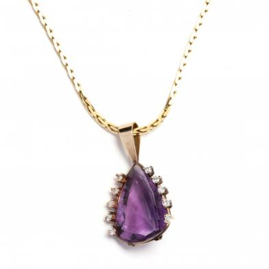 14kt-gold-amethyst-and-diamond-necklace