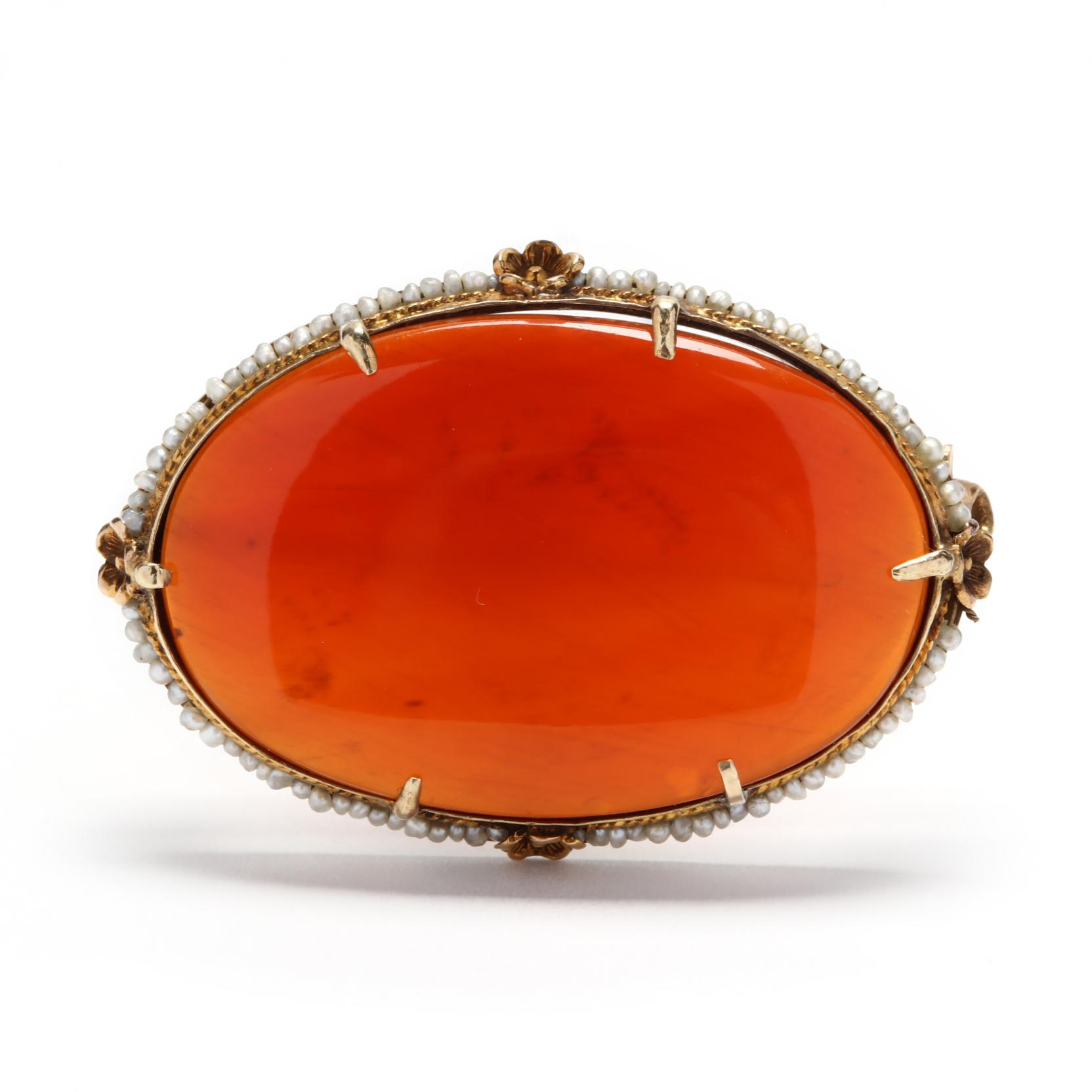 antique-gold-carnelian-and-seed-pearl-brooch