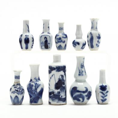 a-collection-of-miniature-chinese-blue-and-white-vases