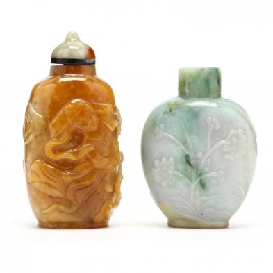 two-chinese-jade-hard-stone-snuff-bottles