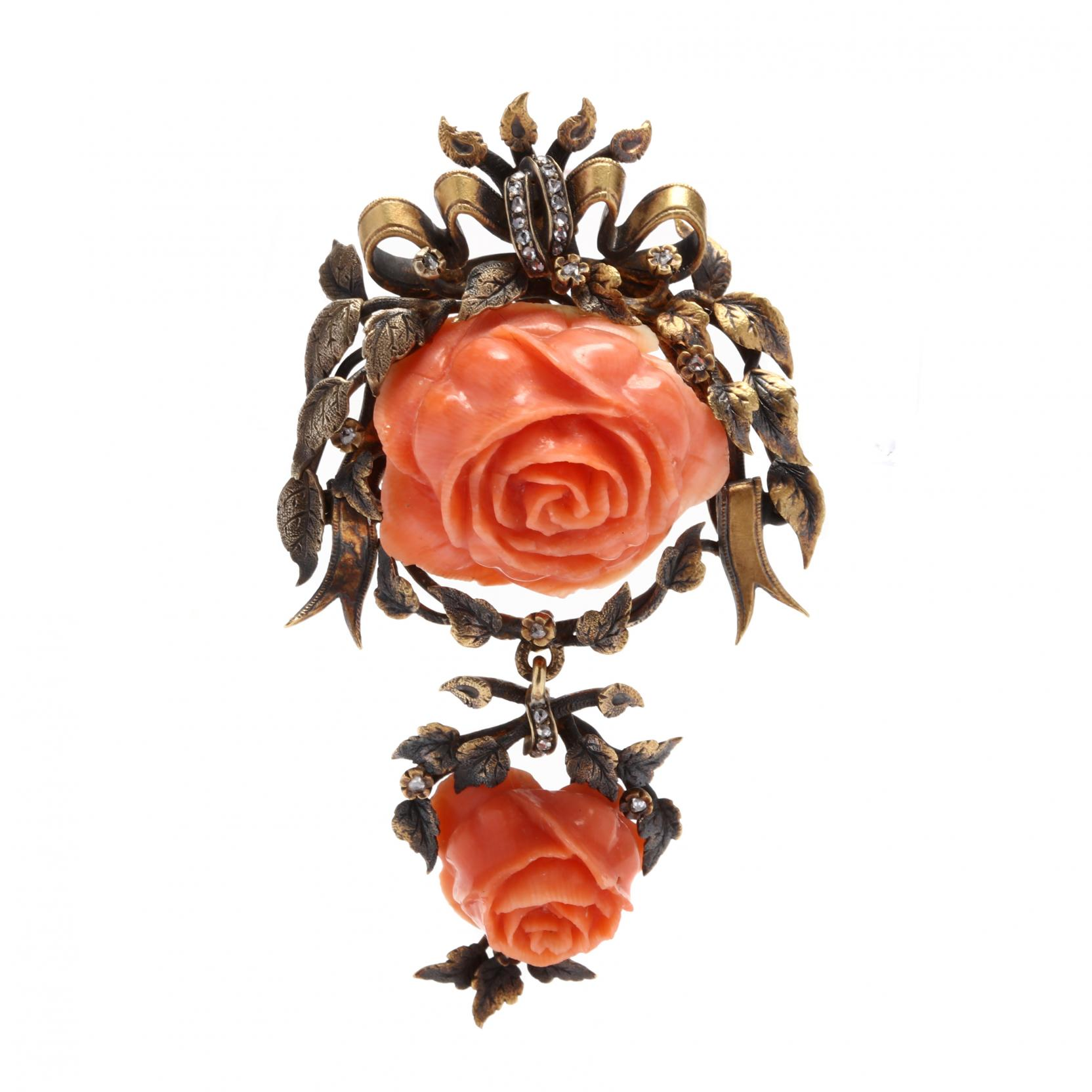 gold-filled-carved-coral-and-diamond-brooch