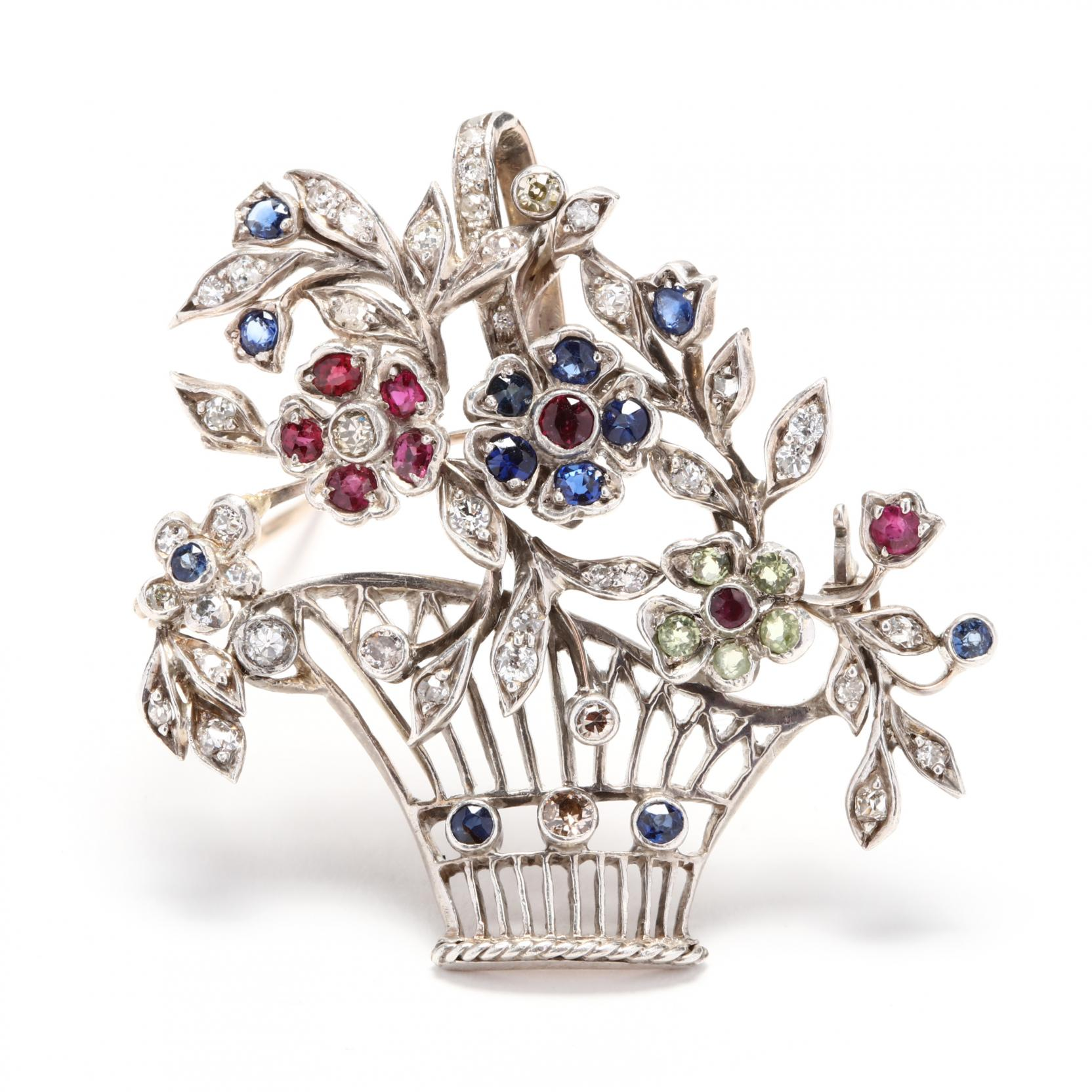 vintage-silver-gem-set-flower-basket-brooch