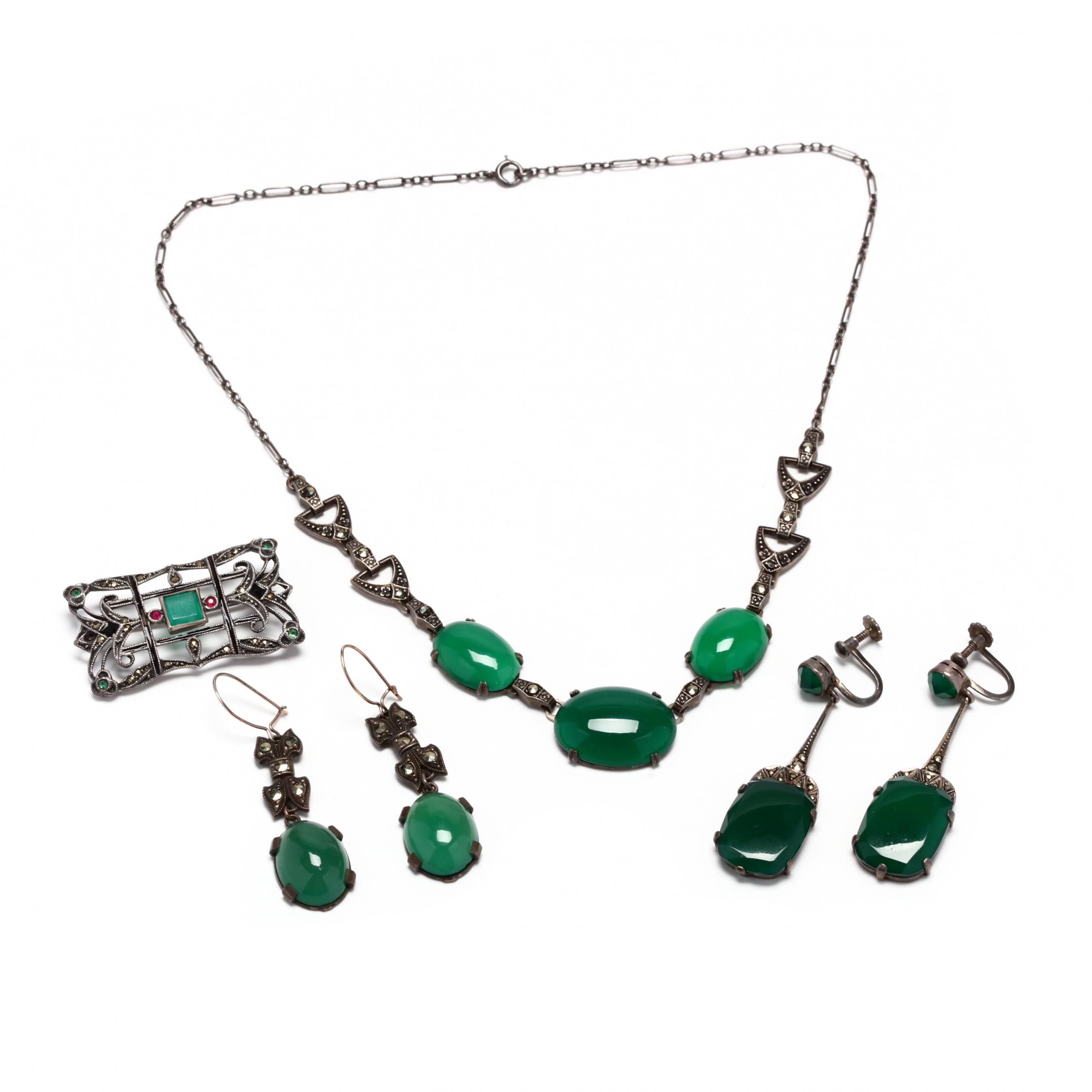 four-art-deco-silver-and-gemstone-jewelry-items