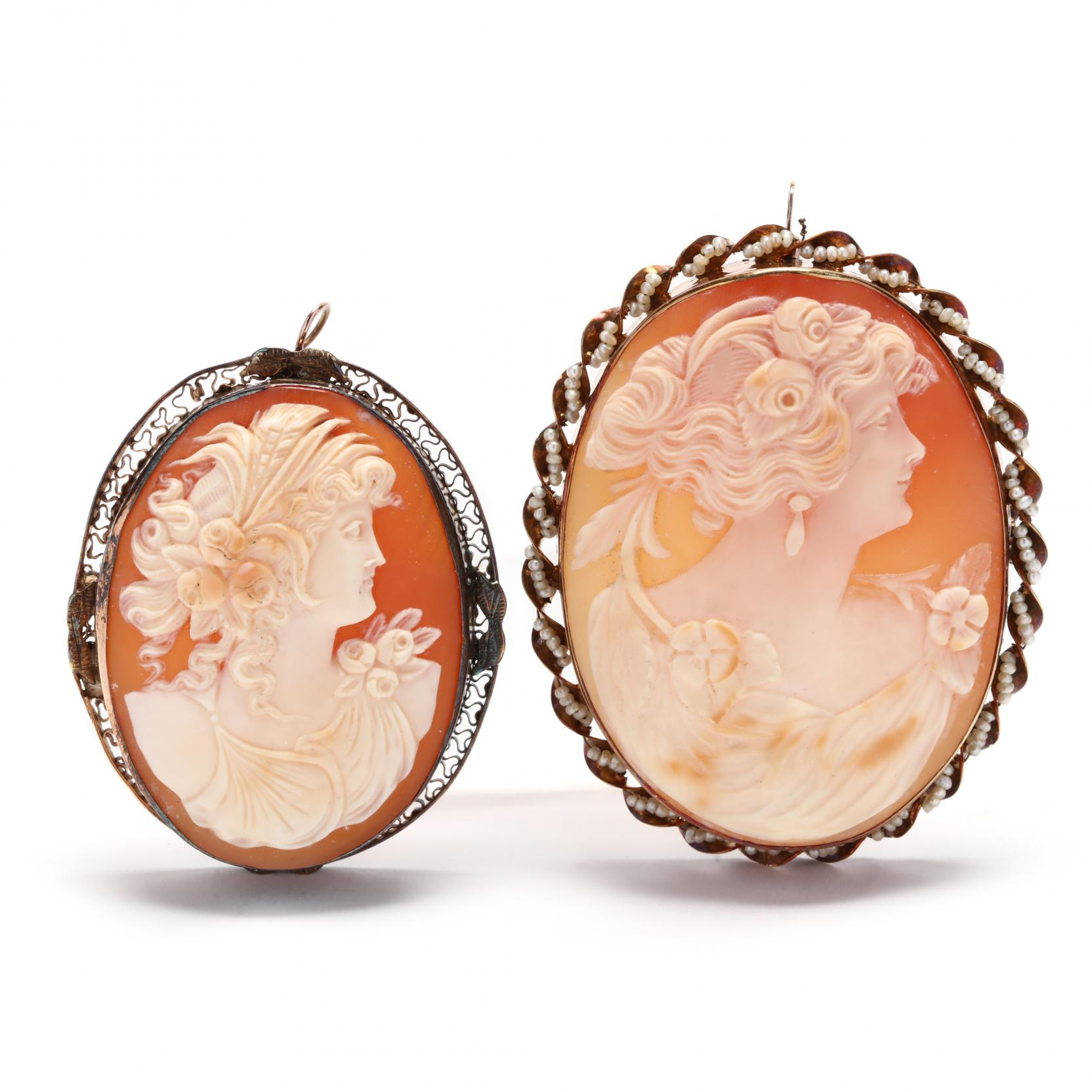 two-victorian-14kt-gold-cameo-brooches-pendants