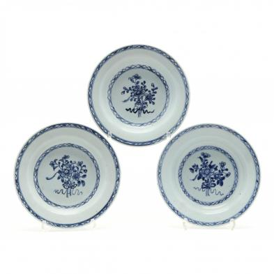three-chinese-blue-and-white-export-porcelain-plates