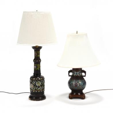 two-vintage-champleve-table-lamps